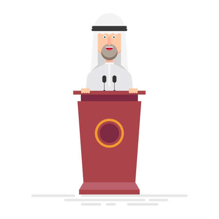 Arab businessman speaks on the podium Foto de archivo - 153686573