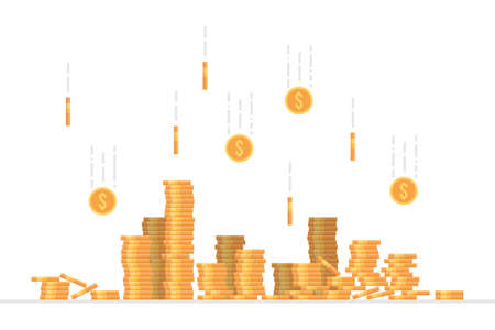Falling dollar coins vector illustration in flat style