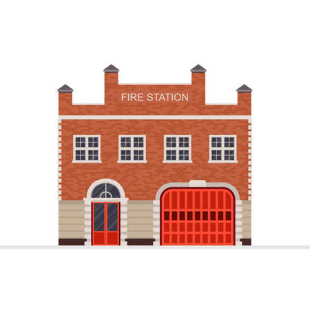 Fire station building vector illustration isolated on white background