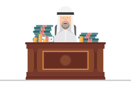 Arab businessman sits on a chair at an office full of money Vectores