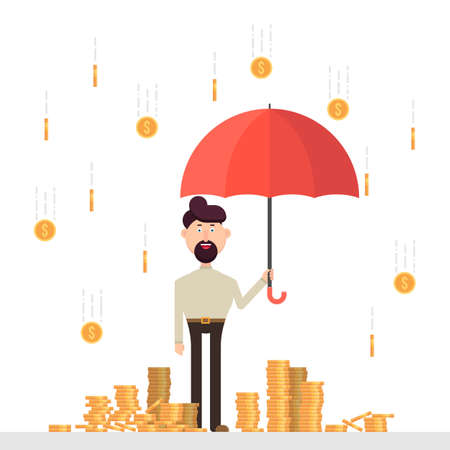 Businessman with umbrella under a rain of coins
