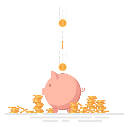 Piggy Bank with dollar coins vector illustration isolated on white Foto de archivo - 153531462