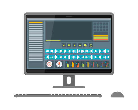 Interface of sound and video editor on screen Vectores