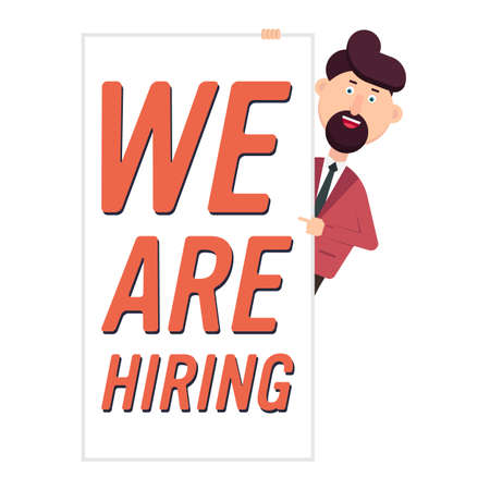 Happy businessman show a banner with hiring text Vectores