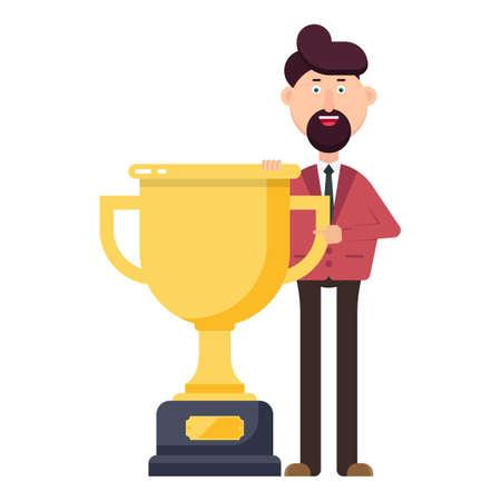 Businessman holding winner trophy vector illustration Vectores