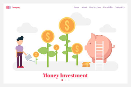 Money investment background for website landing page