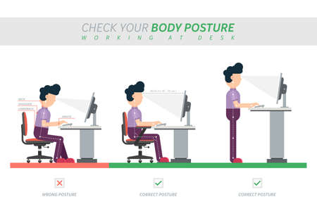 Ergonomic posture of sitting at desk flat vector illustration Foto de archivo - 154382292
