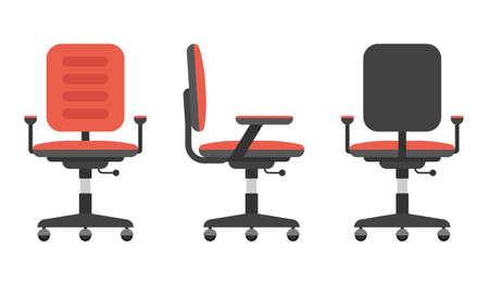 Desk chair set vector illustration isolated on white