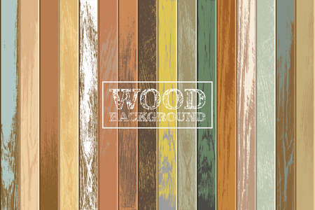 Vintage wooden background with old and faded colors Vectores