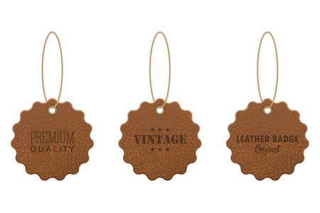 Set of leather labels vector illustration isolated on white background