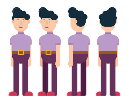 Flat male character in different positions vector illustration