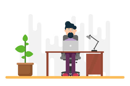 Businessman working at desk vector design Foto de archivo - 155161458