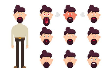 Male character with different face emotions