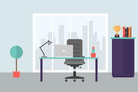 Modern office workplace in flat style