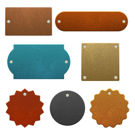 Set of leather labels vector illustration isolated on white background Foto de archivo - 155554930