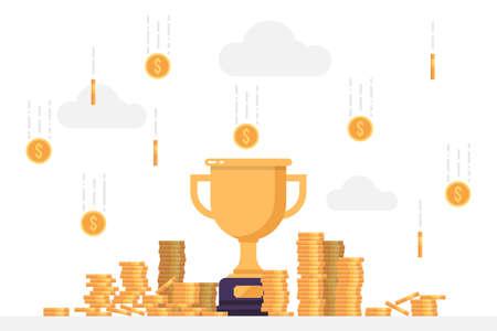 Gold winner trophy under a rain of coins Vectores