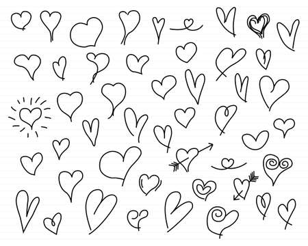 Hand drawn hearts set vector design