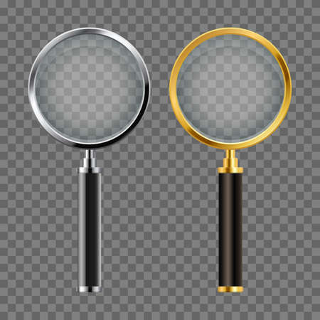 Set of realistic magnifying glass vector design Vectores
