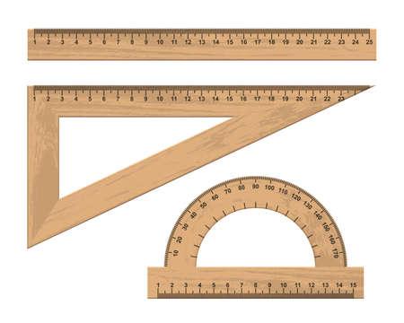 Set of wooden ruler instruments vector illustration