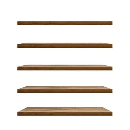 Realistic empty wooden shelf vector illustration