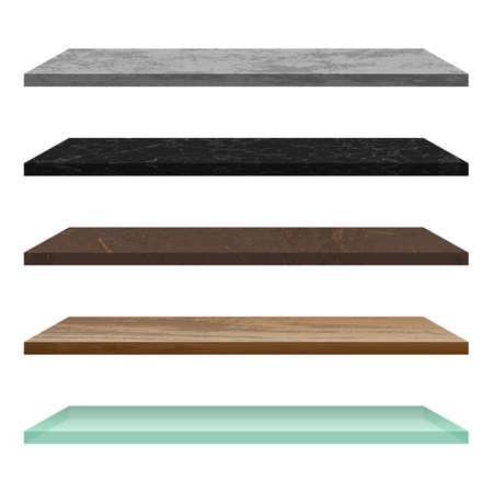 Empty shelf made of different materials Vettoriali