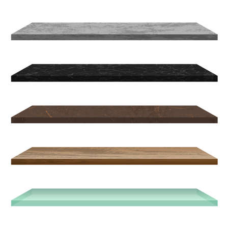Empty shelf made of different materials