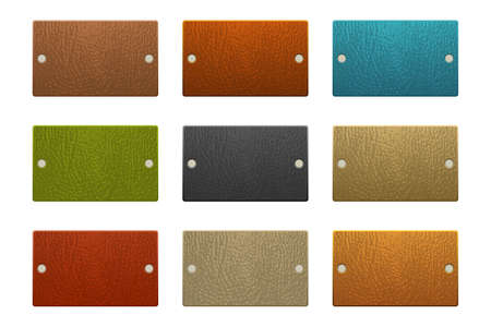 Set of colored leather labels vector illustration isolated on white background
