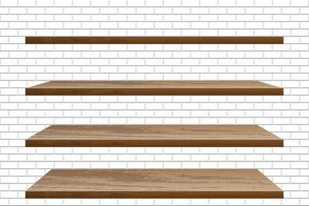 Realistic empty wooden shelf on brick wall Vectores