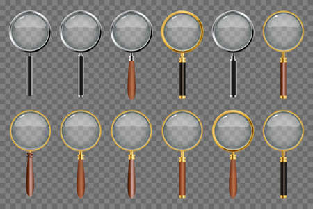 Set of realistic magnifying glass on transparent background 矢量图像