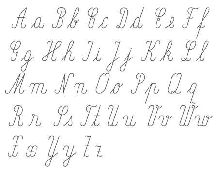 Handwritten alphabet small and big letter