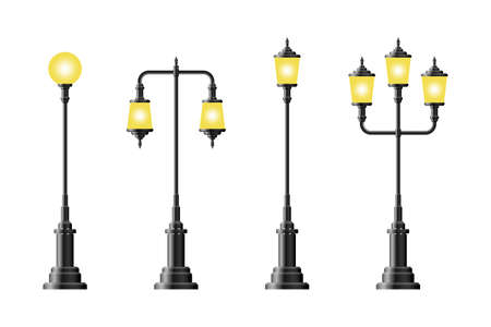 Set of realistic vintage street lamp vector illustration Vectores