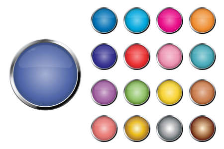 Realistic colored buttons vector illustration isolated on white