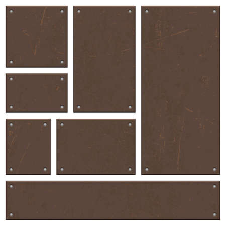 Rusty iron board set vector design isolated on white Vectores