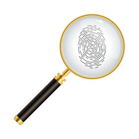 Fingerprint with magnifying glass vector illustration Vettoriali