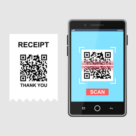 Scan QR code and pay receipt to smartphone