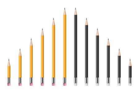 Set of realistic pencils vector illustration