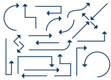 Arrows lines in different directions set vector illustration Иллюстрация
