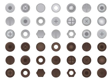 Bolts and nuts set vector illustration Иллюстрация
