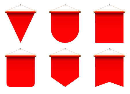 Set of realistic pennant vector illustration