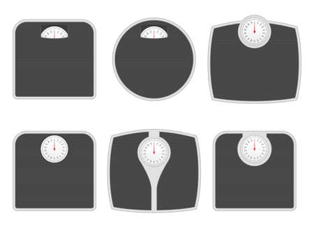 Bathroom weighing scale in different shapes vector illustration Иллюстрация