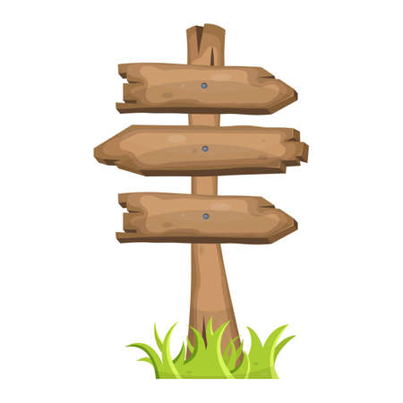 Wood stake with direction signs Иллюстрация