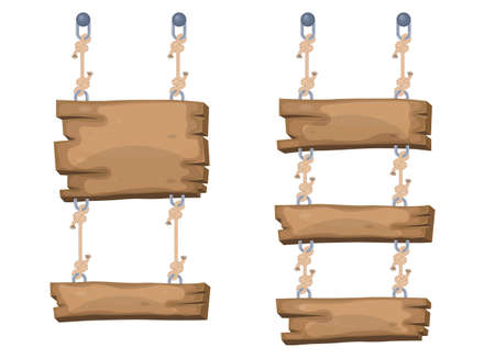 Wooden cartoon sign boards hanging from ropes Иллюстрация