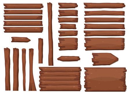 Wooden planks in cartoon style