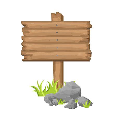 Wooden sign board on grass in cartoon style Иллюстрация
