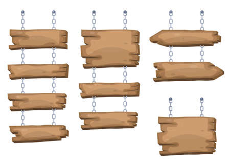 Wooden sign boards hanging from chain Иллюстрация