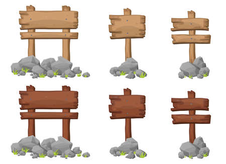 Set of wooden sign board with rocks and boulders in cartoon style