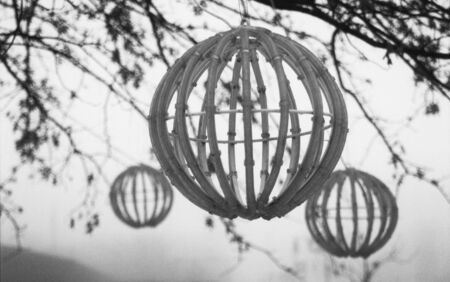 Wooden globes hanging from trees in city park Stock Photo