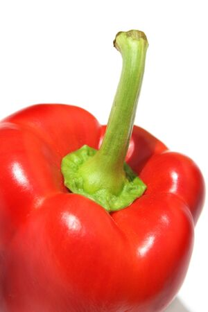 Extreme close-up of red pepper against white background Stock Photo