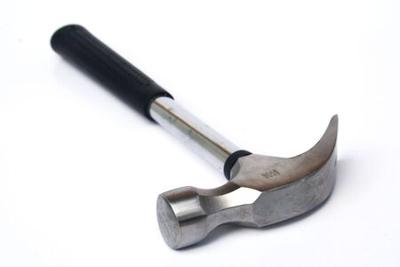Black handled claw hammer against white background Stock Photo - 3425264
