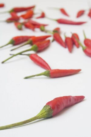 An arrangement of small red chili peppers isolated against a white background Reklamní fotografie